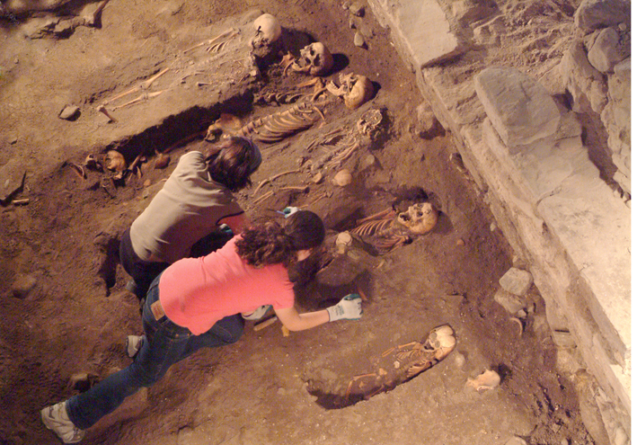 View from above of excavation of skeletons in an archaeological dig