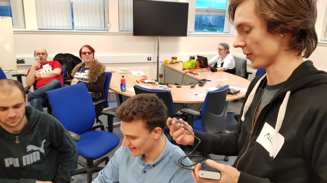 Team LoraFWUINN testing a Lorwan enabled sensor