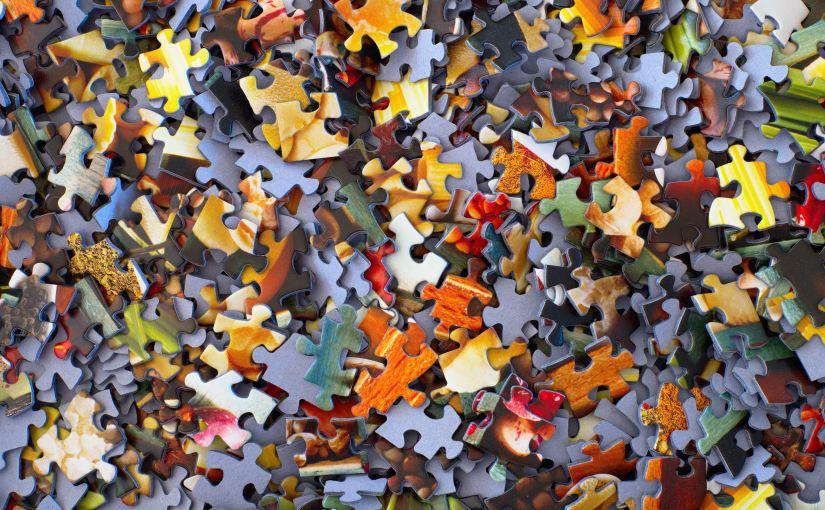 Jigsaw pieces jumbled up