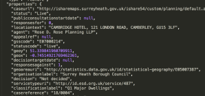 Surrey Planning API – json code