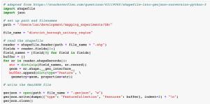 Code to convert shapefiles to geojson
