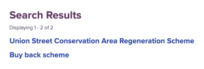 ACC results for regeneration areas