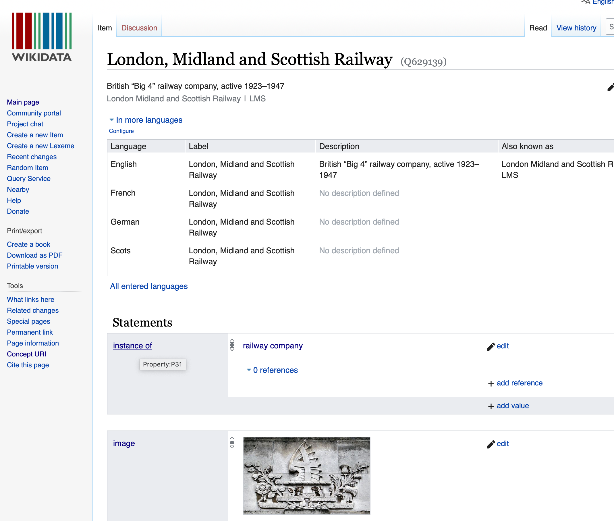 Screen grab of the Wikidata page for LMSR