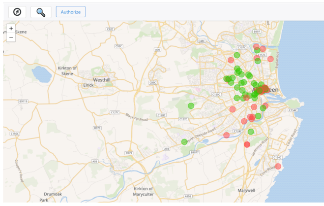 A screenshot of a clickable map where people can upload photos of monuments